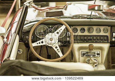 Sleza, Poland, August 15, 2015: Close Up On Jaguar Vintage Car Steering Wheel And Kockpit On  Motorc