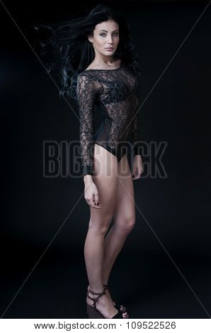 Seductive Woman Wearing Black Sensual Lingerie, Looking At Camera.