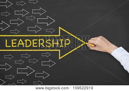 Leadership Concept Arrow on Blackboard