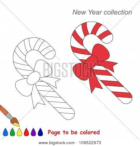 Xmas candy cane vector cartoon to be colored.