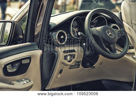 Sleza, Poland, August 15, 2015: Close Up On Mercedes Cockpit And Wheel On  Motorclassic Show On Augu