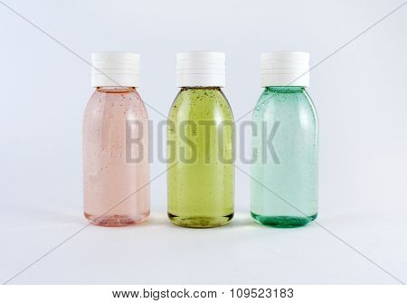 Bottles with colored liquids