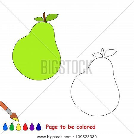 Pear vector cartoon to be colored.