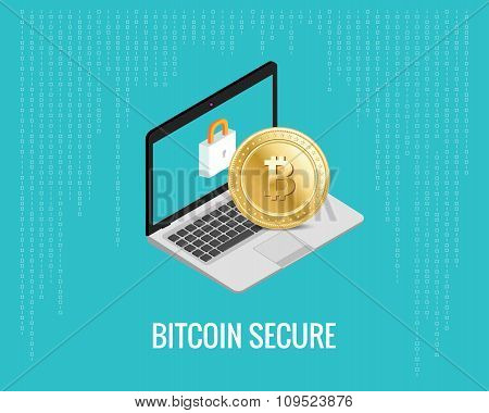bitcoin secure illustration with laptop and lock icon on the digital blue background. Isometric view