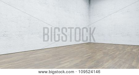 Open space gallery in modern loft. Brick wall with wooden floor. 3d render
