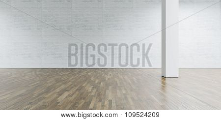 Open space gallery and column in the center. Brick wall with wooden floor. 3d render