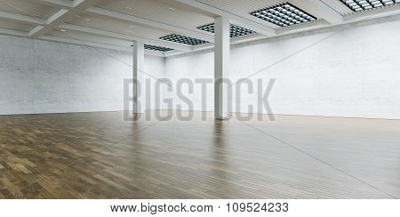 Empty expo gallery and columns in the center. Brick wall with wooden floor. 3d render