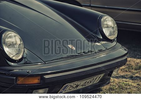 Sleza, Poland, August 15, 2015: Close Up On Porshe Sing On  Motorclassic Show On August 15, 2015 In
