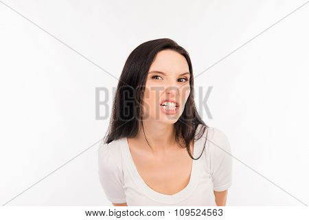 Portrait Of Angry Crazy Girl