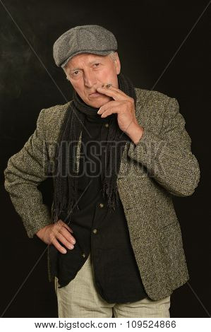 Senior man smoking