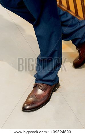 Feet Man In Shoes.