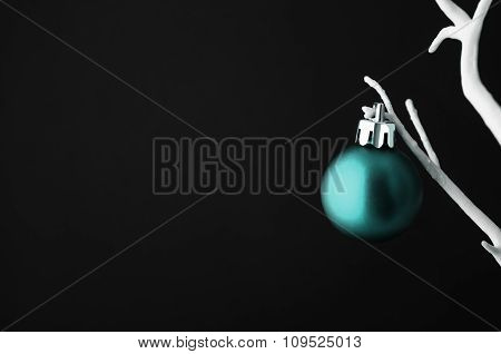 Turquoise Christmas Bauble On White Tree