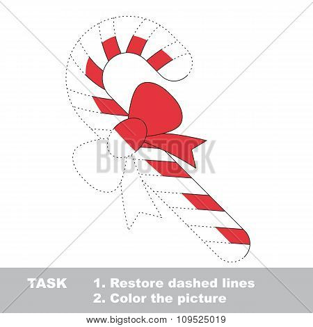 Xmas candy cane to be colored. Vector trace game.