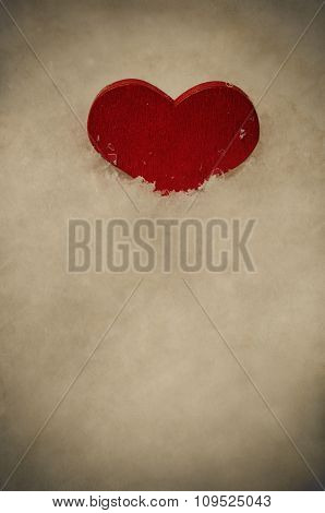 Red Heart Upright In White Snow - Vintage