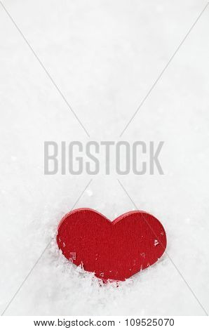 Red Wooden Heart Upright In Snow