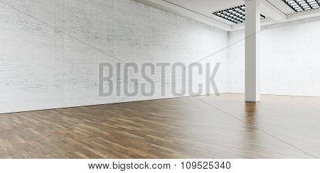 Open space gallery and column in the center. Brick wall with wooden floor. Wide. 3d render