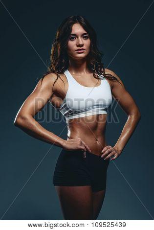 Young Beautiful Athletic Woman, Studio Shot