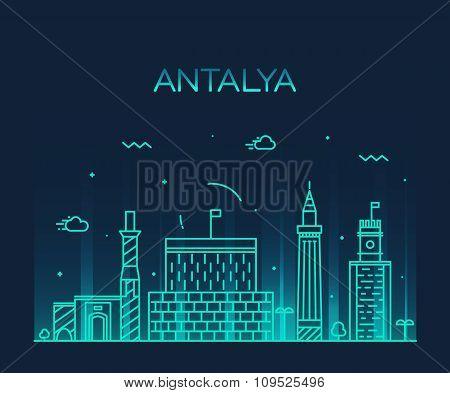 Antalya skyline vector illustration linear style