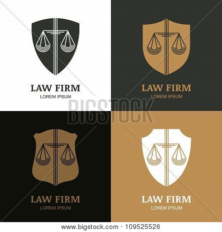 Set Of Vector Line Art Vintage Law Firm Logo Template.