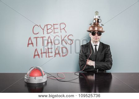 Cyber attacks ahead concept with vintage businessman and calculator