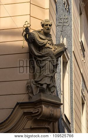 Statue Of Saint Peter In Old House