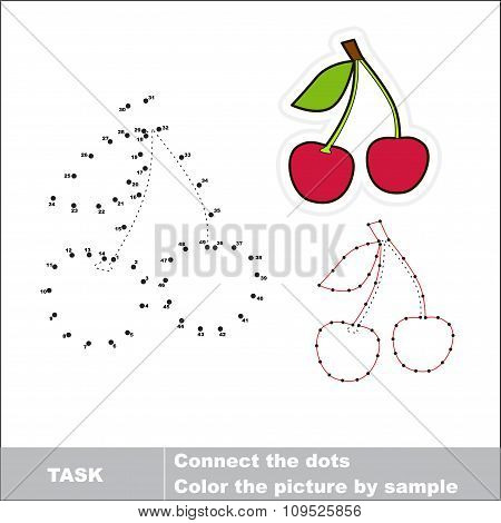 Sweet cherry to be traced. Vector numbers game.