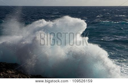 Huge wave explosion close up HDR effect, big wave, storm in the sea, stormy day big waves in Malta