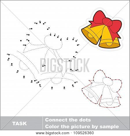 Xmas bells with bow to be traced. Vector numbers game.