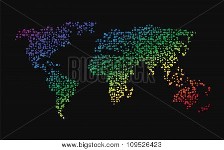 World Map Made ??up Of Small Dots Rainbow Colors