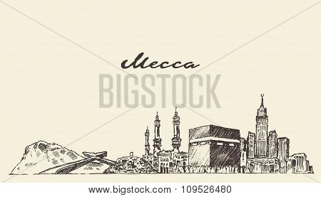 Mecca skyline vector illustration hand drawn