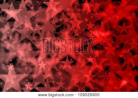 Red Stars Background With Bokeh Effect
