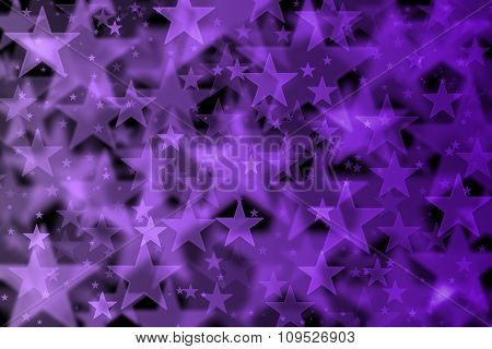Purple Stars Background With Bokeh Effect