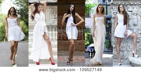 Collage five sexy models in white dress. Street Fashion, Beautiful young women