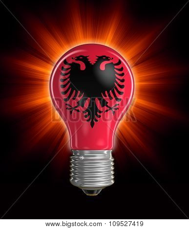 Light bulb with Albanian flag (clipping path included)