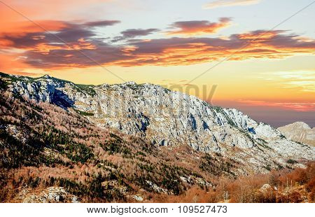 Beautiful Sunset In Autumn In Durmitor, Montenegro