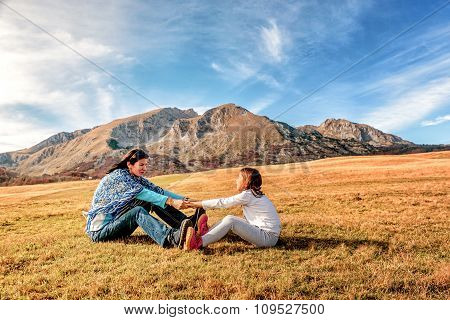 Mother And Daughter Holding Hands  In Durmitor, Montenegro