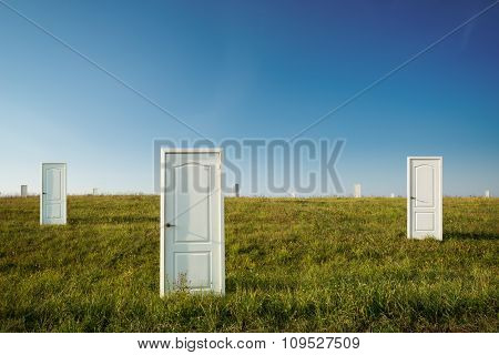 Doors in a field