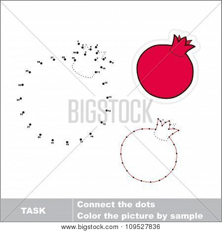 Pomegranate to be traced. Vector numbers game.