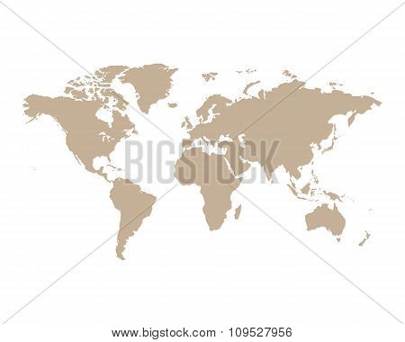 World Map political Brown in the linear graphic style on an isolated background. Vector illustration