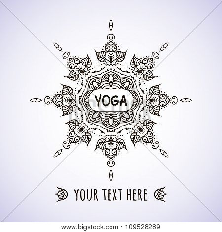 Hand drawn Indian style frame on a teal background with a place for your text for a yoga class. Circ