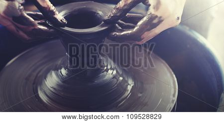 Person Creation Pottery Handcraft Art Mud Concept