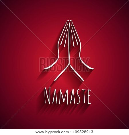 Welcome gesture of hands of Indian woman character in Namaste mudra on insulated white red batskgrou