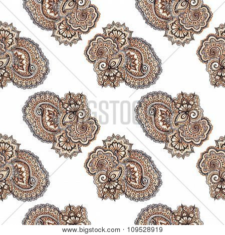 Decorative indian ornament. Repeating pattern. Marker painted drawing