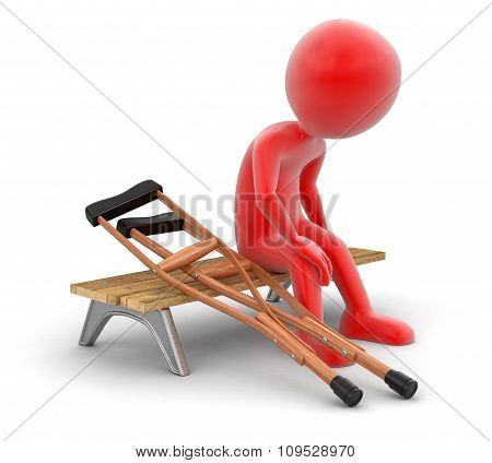 Man on bench and Crutches (clipping path included)
