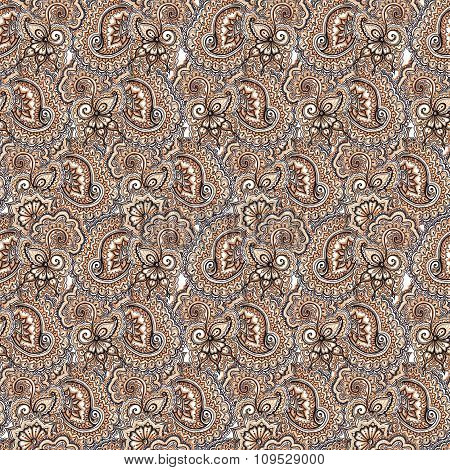 Decorative embroidery repeating pattern. Arabic paisley and flowers background