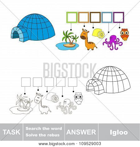 Vector game. Search the word. Find hidden word Igloo
