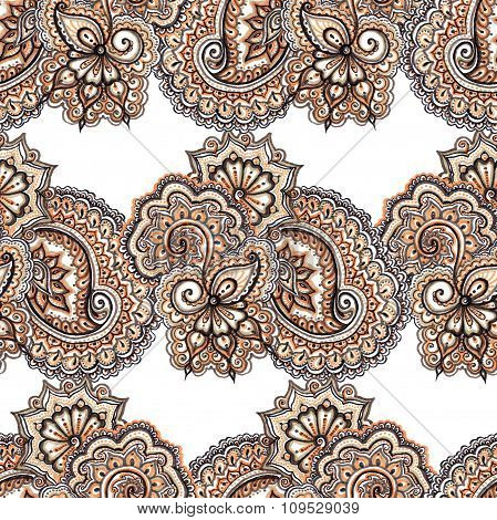 Lace embroidery repeating pattern. Floral ornamental background with flowers, paisley and scroll