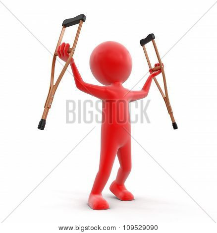Man and Crutches (clipping path included)