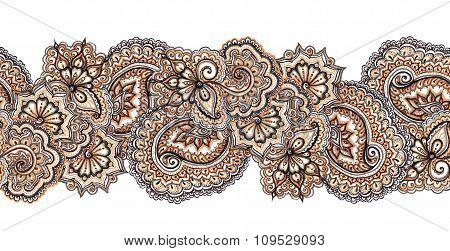 Ornate decorative repeating border pattern. Indian embroidery frame