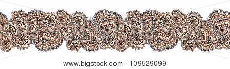 Decorative ethnic repeated border frame. Eastern ornate stripe, indian